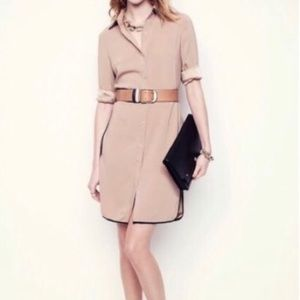 Ann Taylor tan dress with black piping & tie belt